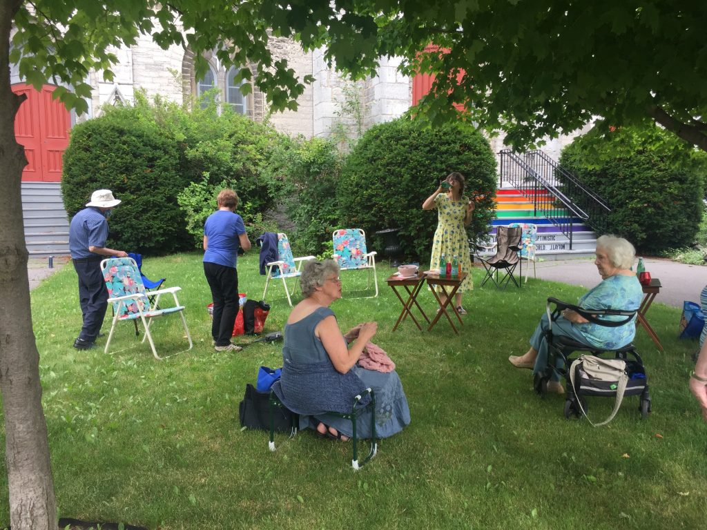 Prayer Shawl Group on the lawn